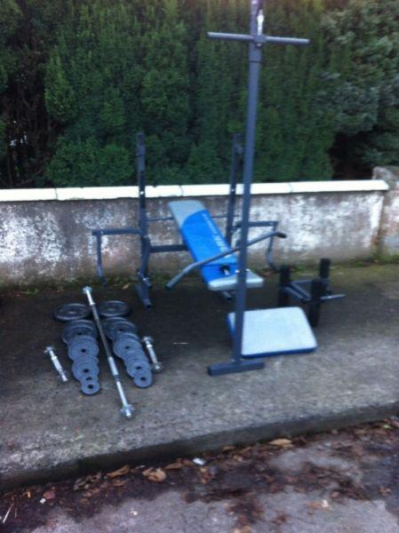 BENCH WORKOUT STATION,WITH CAST IRON WEIGHTS SET