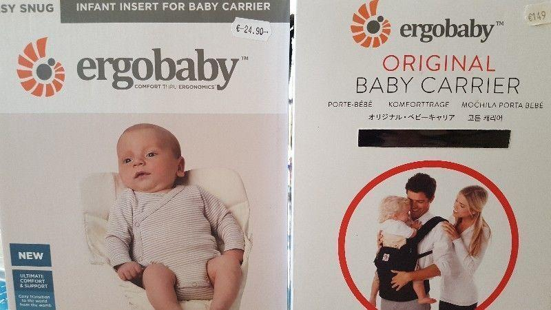Ergobaby black and camel carrier + infant insert + original packing and instructions