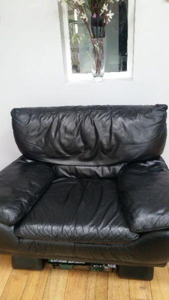 Black Leather Couch & Armchair