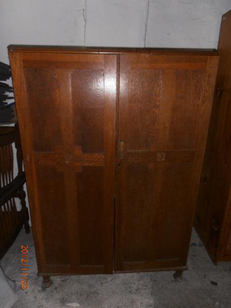Antique Oak Wardrobe. Made in 1950's