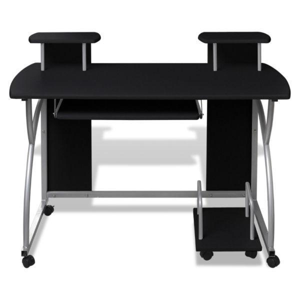 Mobile Computer Desk Pull Out Tray Black Finish Furniture Office(SKU20054)