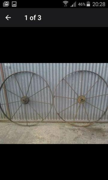 Two pair for cast iron farm equipment wheels