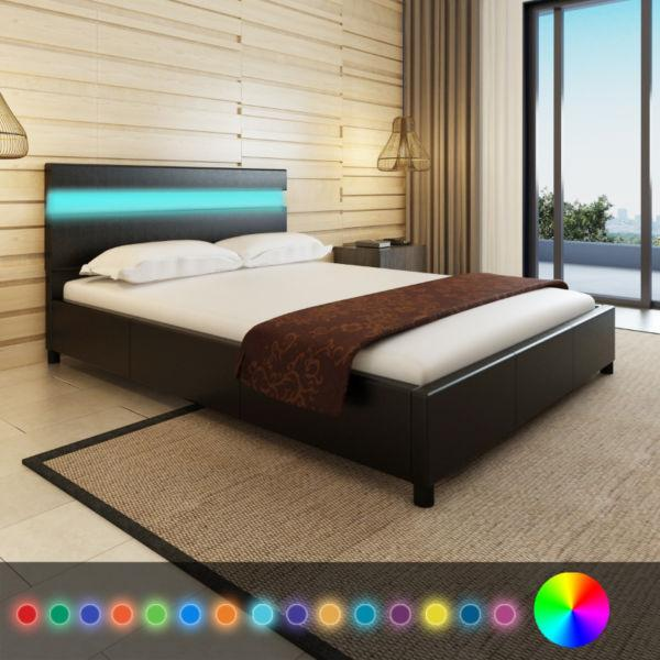 vidaXL Bed Frame LED 4FT6 Double/135x190 cm Artificial Leather Black(SKU242589)