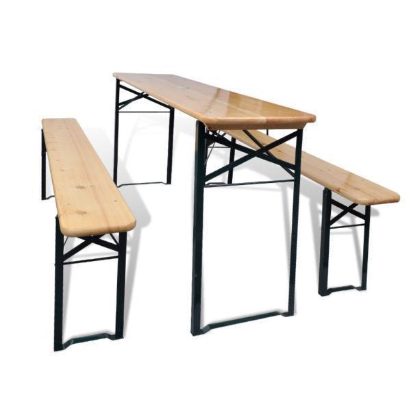 vidaXL Three Piece Foldable Beer Table and Bench Set Pinewood(SKU42206)