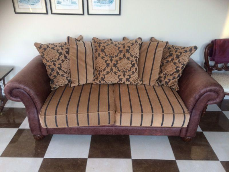 High Quality Brown Leather/Fabric Suite