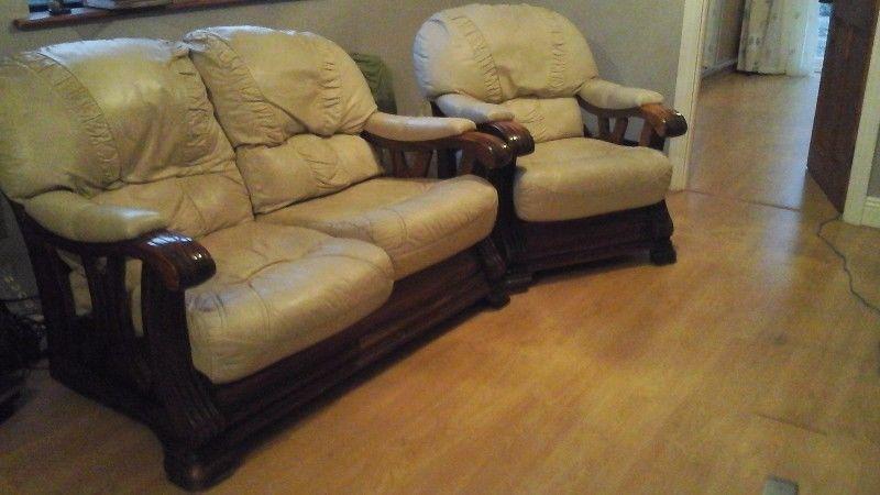 Cream leather sofa/chair
