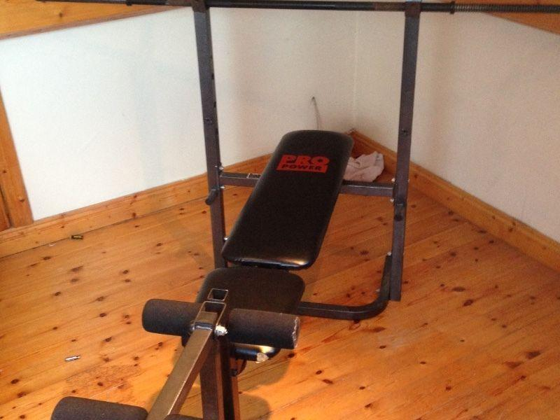 Weight bench with dumbbells and cast iron weights