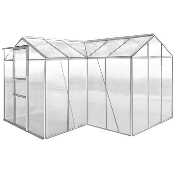 Greenhouses : Aluminium Greenhouse 2 Sections with Hollow Panel(SKU41628)