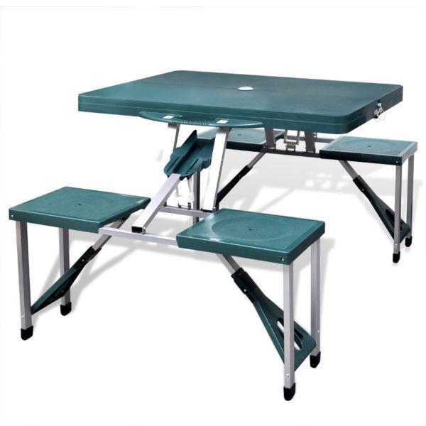 Camp Furniture : Foldable Camping Table Set with 4 Stools Aluminium Extra Light Green(SKU41456)