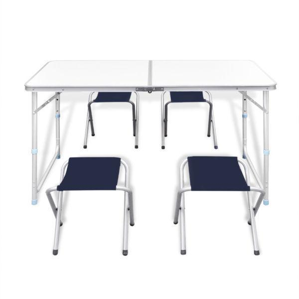 Camp Furniture : Foldable Camping Table Set with 4 Stools Height Adjustable 120x60cm(SKU41328)