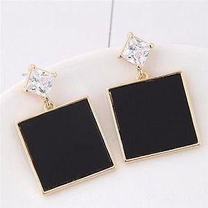Square Fashion Shining Gem Stud Earrings - Black