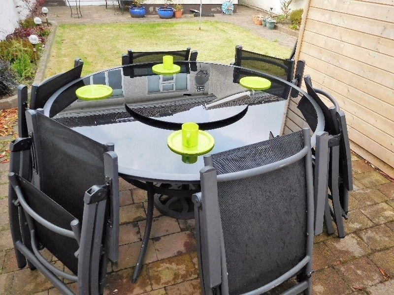 Garden Table with 6 Chairs and Parasol