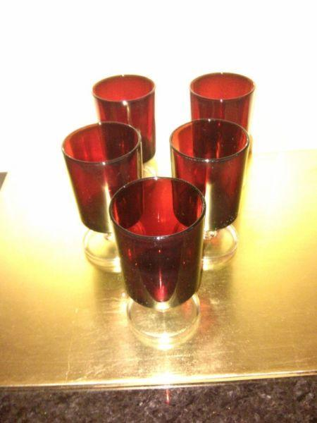 Retro French Luminarc Ruby Red Vintage Glasses