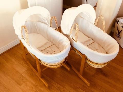 2 Moses Baskets and 2 Rocking Stands