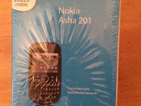 Brand new Nokia Asha 201 mobile phone in box