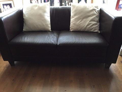 Trendy Brown Leather suite for Sale 2 x 2 seaters and 1 x 3 seater €300