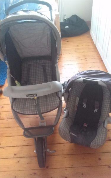 3 Wheeled Graco Pram & Car Seat