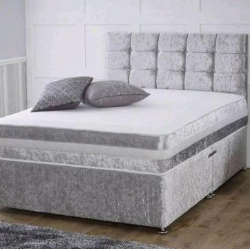Crushed velvet double bed with memory foam mattress