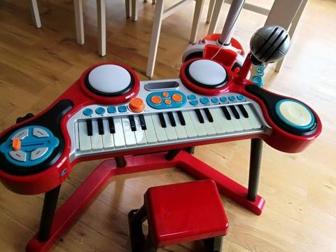 Electronic Piano with drums and scratch pad