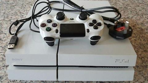 PlayStation 4 500GB Glacier White - With One Controller & One Watchdogs Game Great Condition!