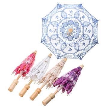 Lace elagant embroidered parasol umbrella for bridal wedding party prop decoration
