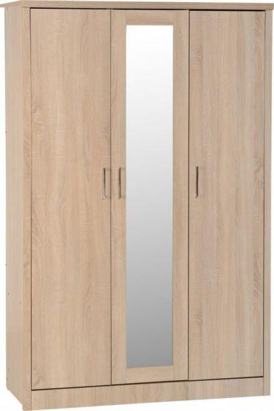 3 Door Mirrored Oak Wardrobe