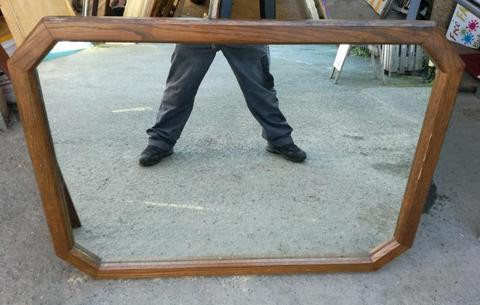 Large solid oak vintage pub mirror
