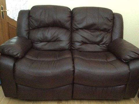 FREE FOR COLLECTION. 2x 2-seater recliners and recliner armchair. Brown leather