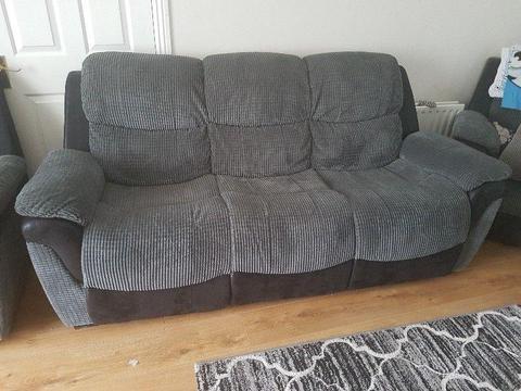 3+1+1 Black & Grey recliner suite for sale