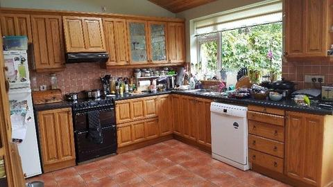 Solid Oak Wood Kitchen Units & Sink for Sale