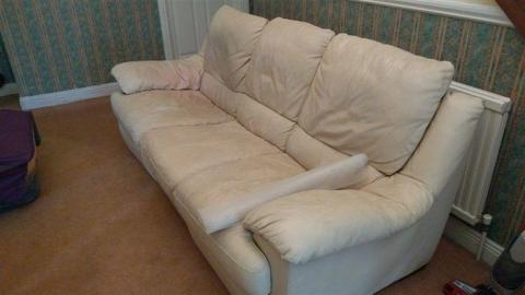 3 seater cream leather sofa to give away