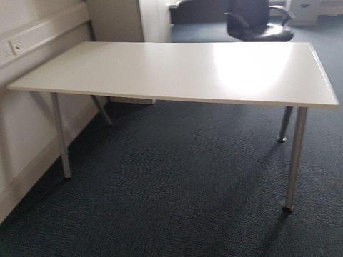 white height adjustable office desks