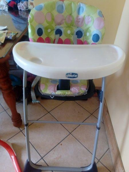 Free reclining high chair and baby bath